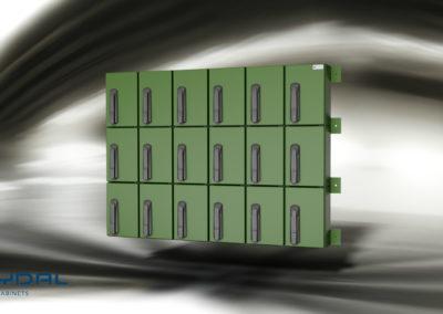 skap med kodelås grønn